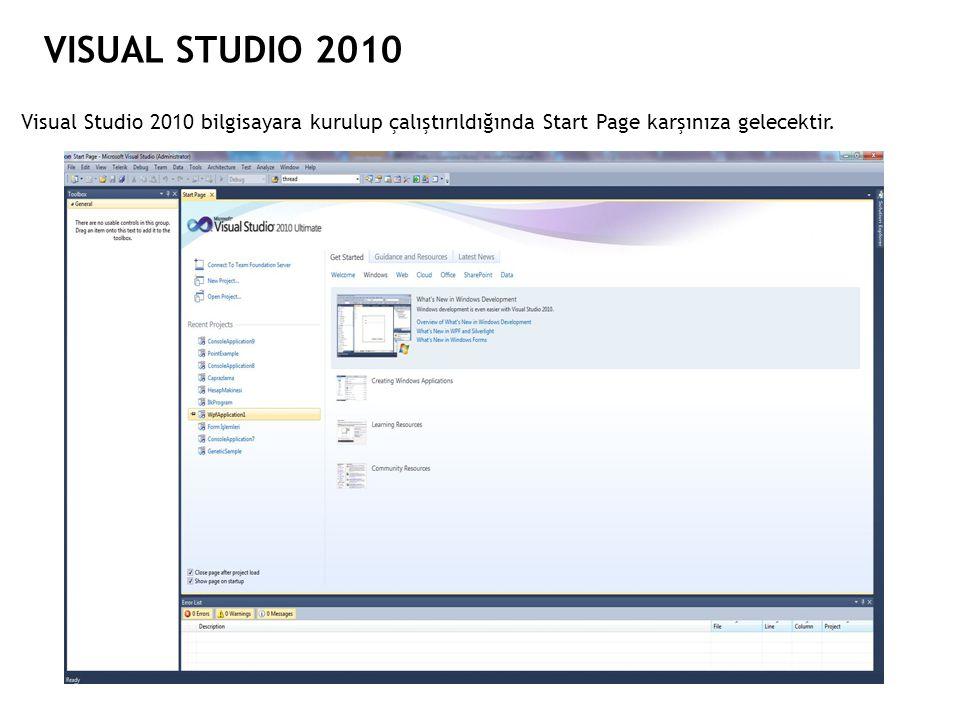 VISUAL STUDIO 2010 Visual Studio 2010 bilgisayara kurulup çalıştırıldığında Start Page karşınıza gelecektir.