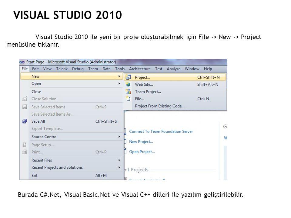 VISUAL STUDIO 2010 Visual Studio 2010 ile yeni bir proje oluşturabilmek için File -> New -> Project menüsüne tıklanır.