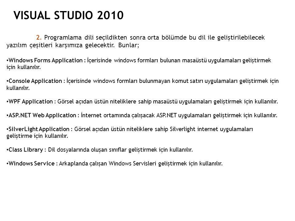 VISUAL STUDIO 2010 2. Programlama dili seçildikten sonra orta bölümde bu dil ile geliştirilebilecek yazılım çeşitleri karşımıza gelecektir. Bunlar;