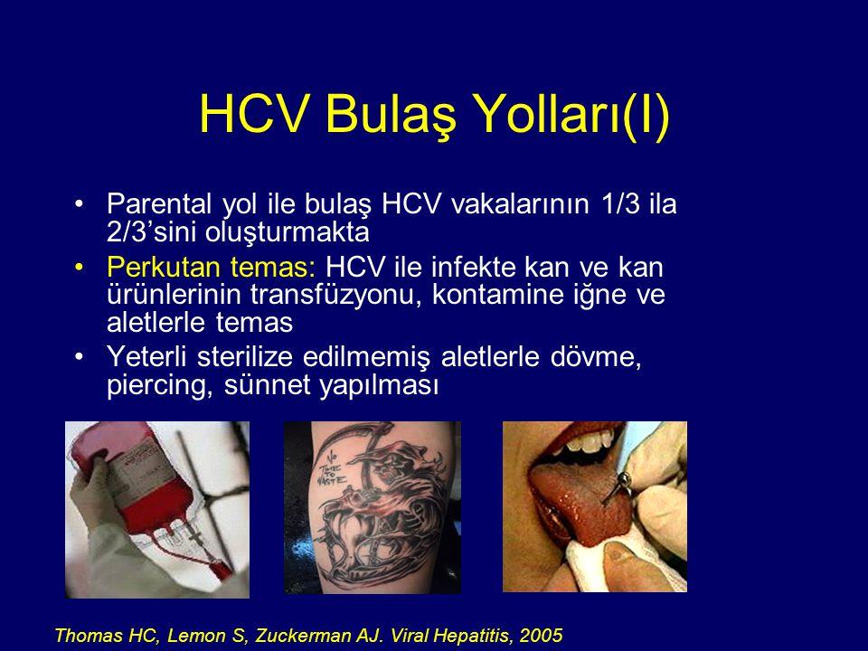 HCV Bulaş Yolları(I) Parental yol ile bulaş HCV vakalarının 1/3 ila 2/3'sini oluşturmakta.