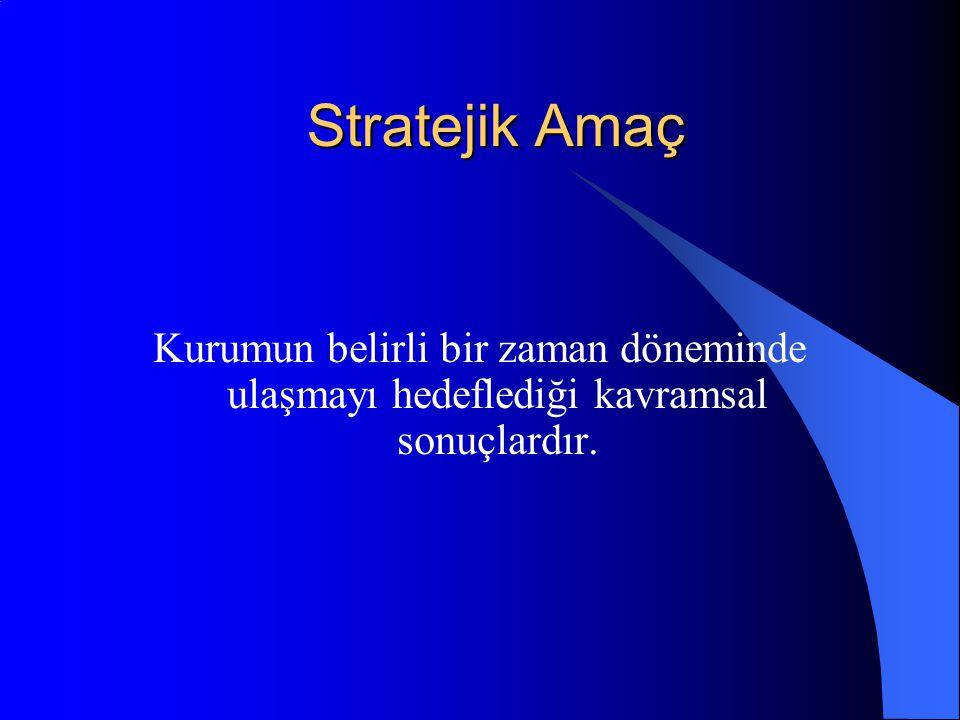 Stratejik Amaç Kurumun belirli bir zaman döneminde ulaşmayı hedeflediği kavramsal sonuçlardır.