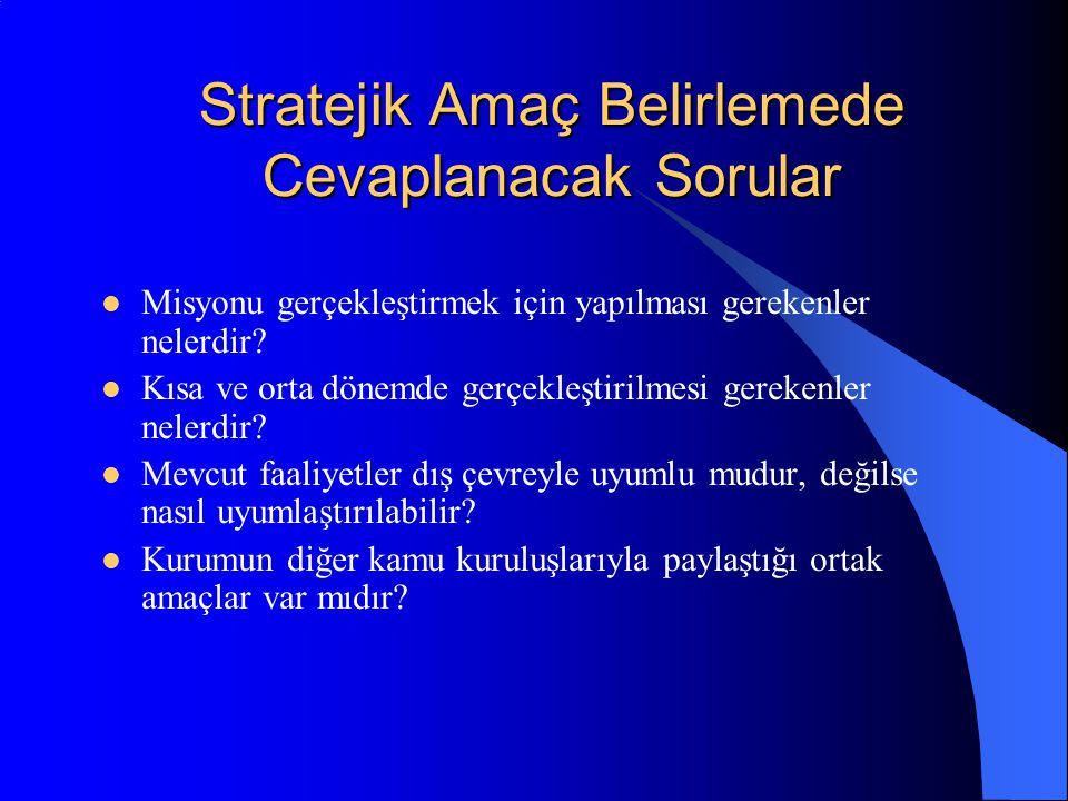 Stratejik Amaç Belirlemede Cevaplanacak Sorular