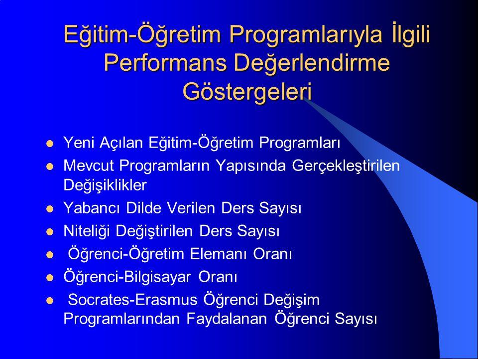 Eğitim-Öğretim Programlarıyla İlgili Performans Değerlendirme Göstergeleri