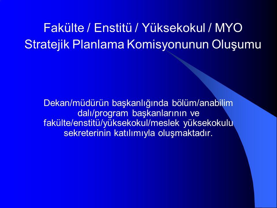 Fakülte / Enstitü / Yüksekokul / MYO Stratejik Planlama Komisyonunun Oluşumu