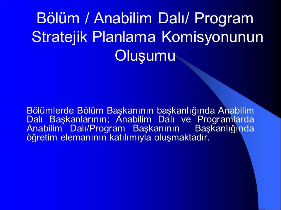 Bölüm / Anabilim Dalı/ Program Stratejik Planlama Komisyonunun Oluşumu