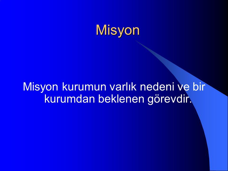 Misyon kurumun varlık nedeni ve bir kurumdan beklenen görevdir.
