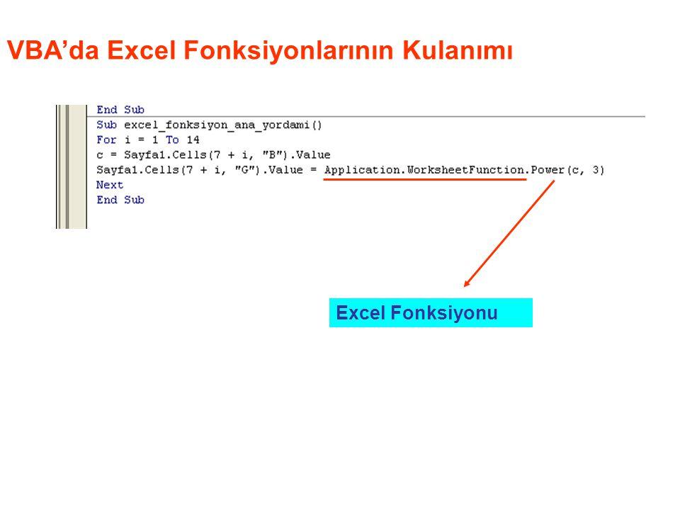 VBA'da Excel Fonksiyonlarının Kulanımı