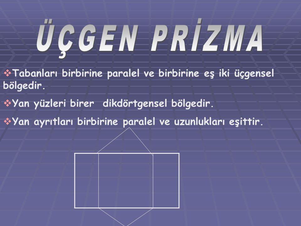 ÜÇGEN PRİZMA Tabanları birbirine paralel ve birbirine eş iki üçgensel bölgedir. Yan yüzleri birer dikdörtgensel bölgedir.