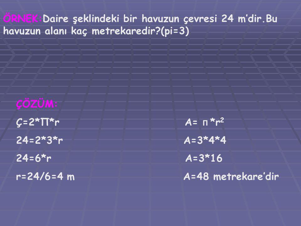 ÖRNEK:Daire şeklindeki bir havuzun çevresi 24 m'dir