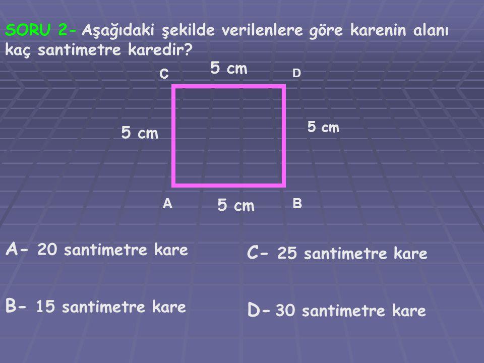 A- 20 santimetre kare C- 25 santimetre kare B- 15 santimetre kare