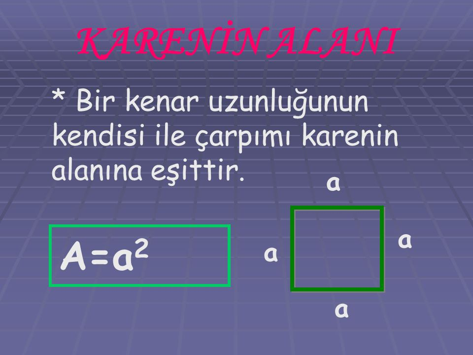 KARENİN ALANI * Bir kenar uzunluğunun kendisi ile çarpımı karenin alanına eşittir. a a A=a2 a a