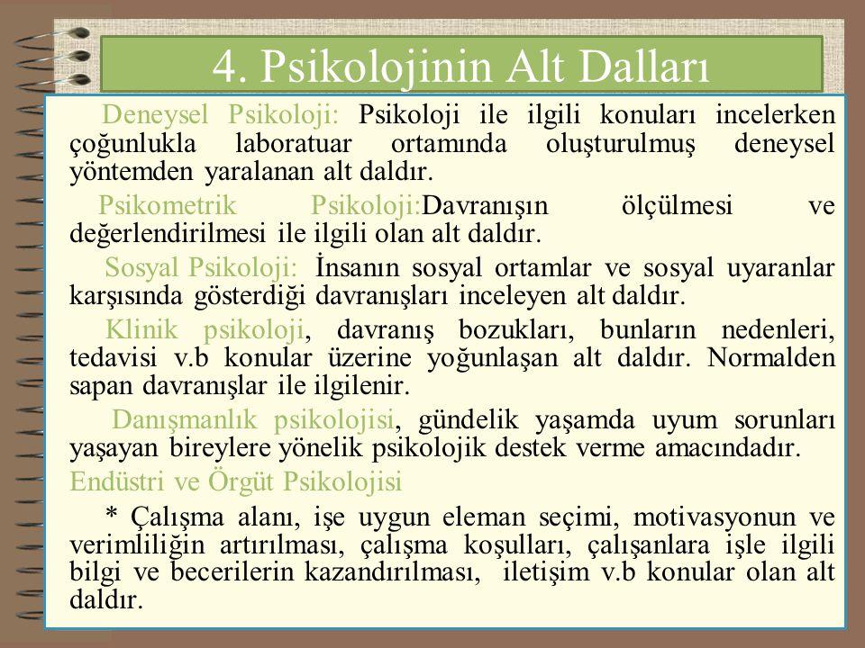 4. Psikolojinin Alt Dalları