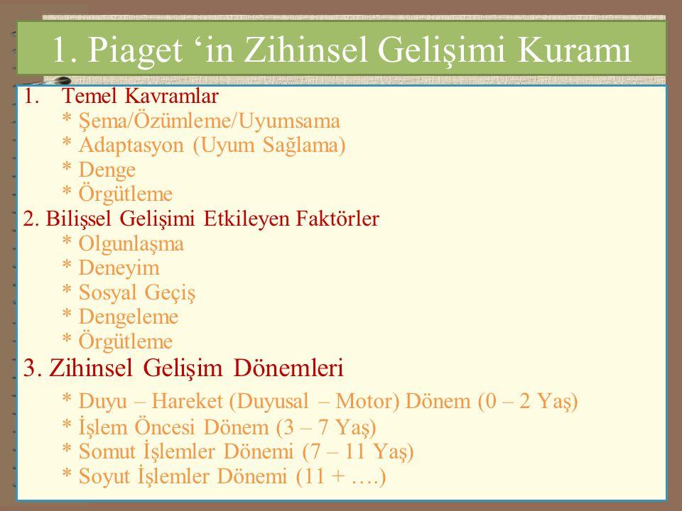 1. Piaget 'in Zihinsel Gelişimi Kuramı