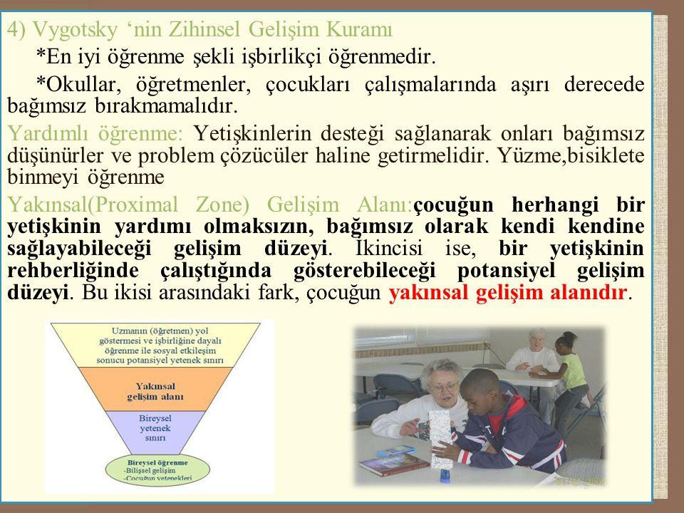 4) Vygotsky 'nin Zihinsel Gelişim Kuramı