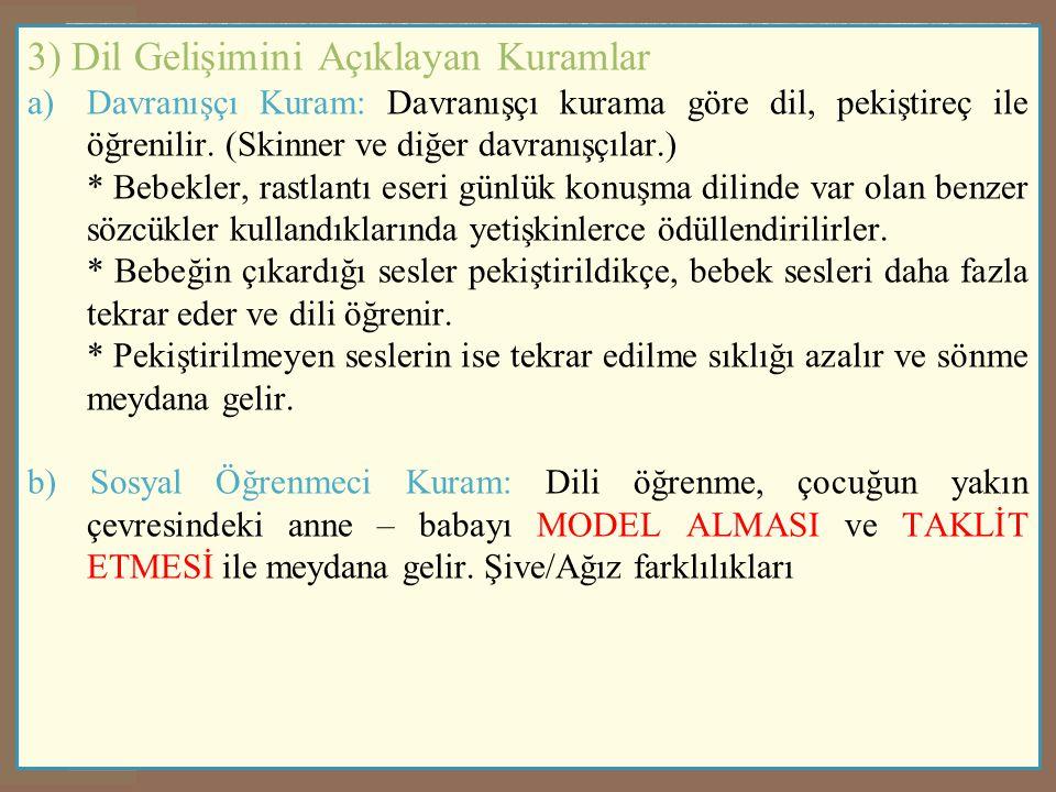 3) Dil Gelişimini Açıklayan Kuramlar
