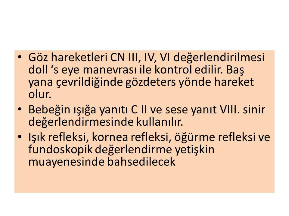 Göz hareketleri CN III, IV, VI değerlendirilmesi doll 's eye manevrası ile kontrol edilir. Baş yana çevrildiğinde gözdeters yönde hareket olur.