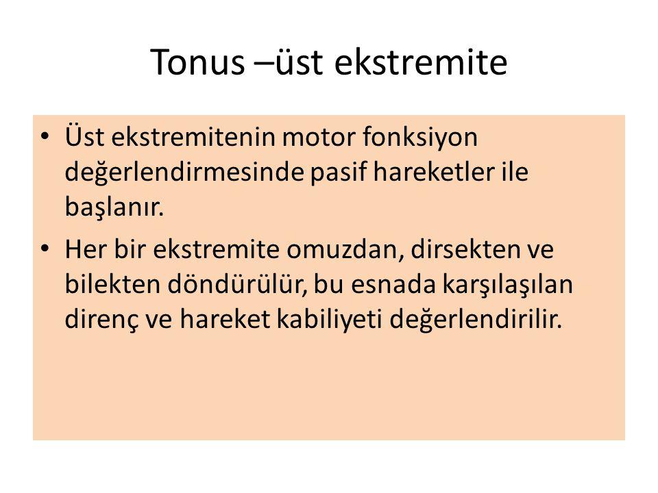 Tonus –üst ekstremite Üst ekstremitenin motor fonksiyon değerlendirmesinde pasif hareketler ile başlanır.