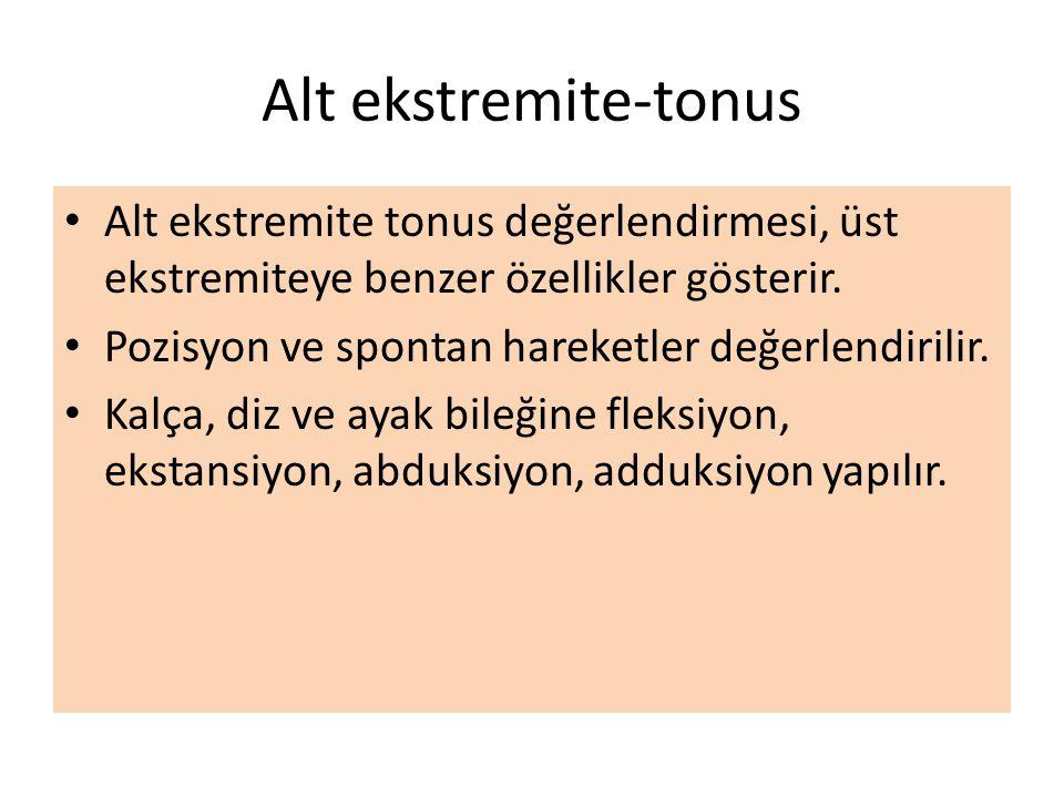 Alt ekstremite-tonus Alt ekstremite tonus değerlendirmesi, üst ekstremiteye benzer özellikler gösterir.