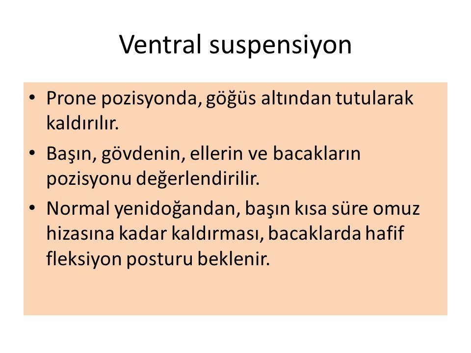 Ventral suspensiyon Prone pozisyonda, göğüs altından tutularak kaldırılır. Başın, gövdenin, ellerin ve bacakların pozisyonu değerlendirilir.