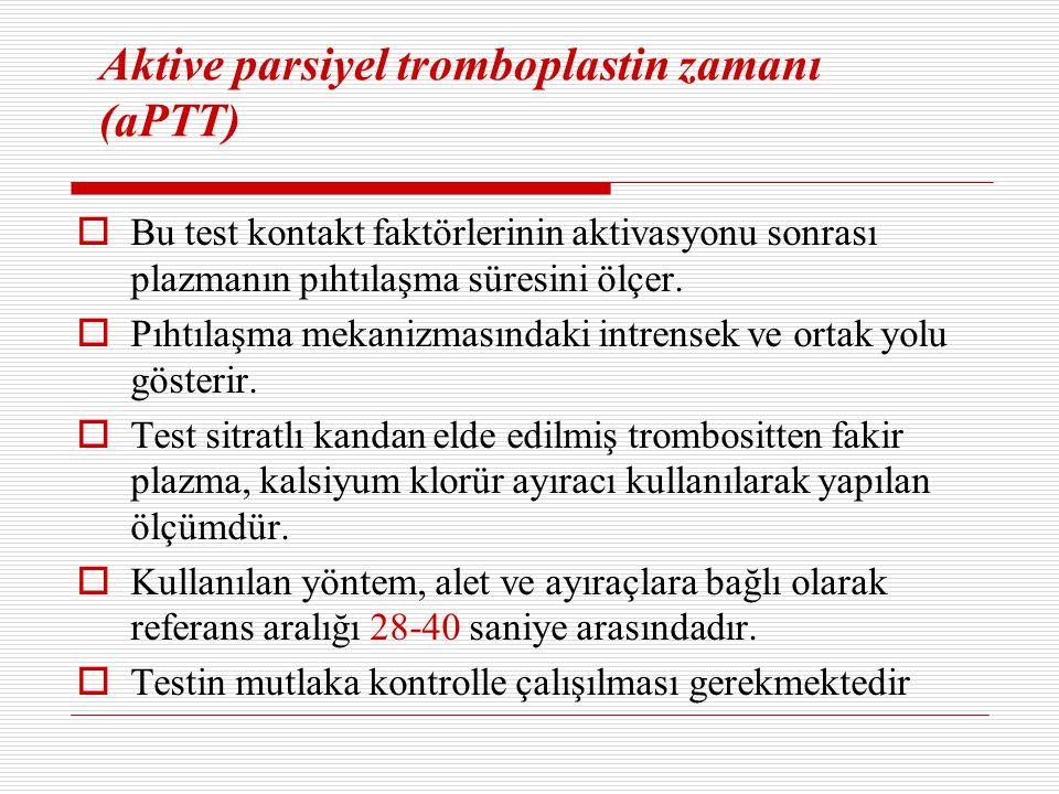 Aktive parsiyel tromboplastin zamanı (aPTT)