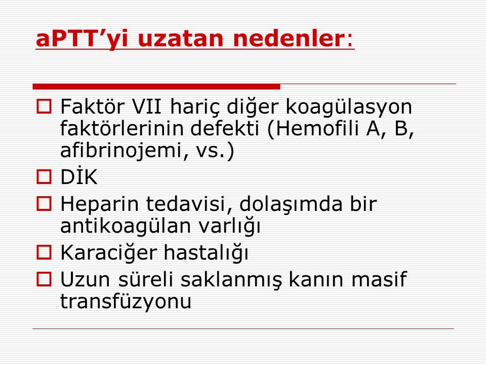 aPTT'yi uzatan nedenler: