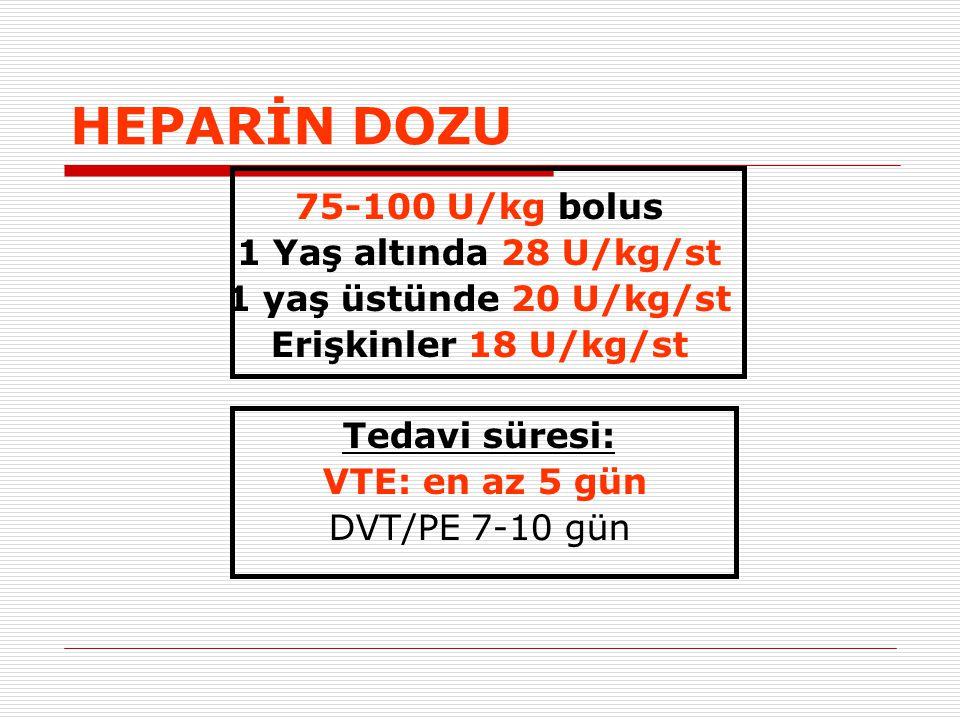 HEPARİN DOZU 75-100 U/kg bolus 1 Yaş altında 28 U/kg/st