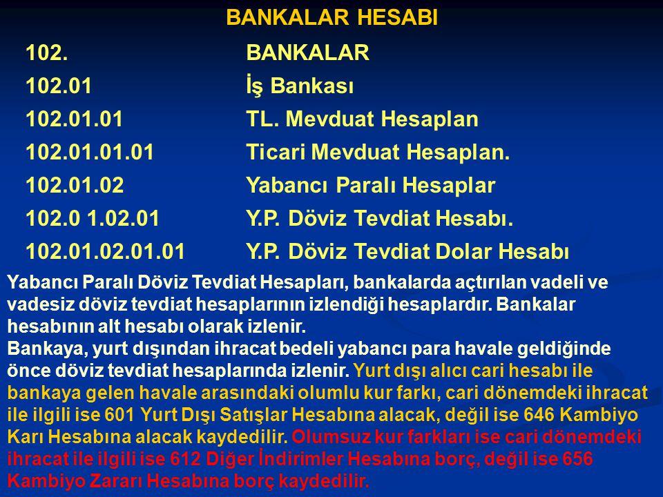 Ticari Mevduat Hesaplan. 102.01.02 Yabancı Paralı Hesaplar