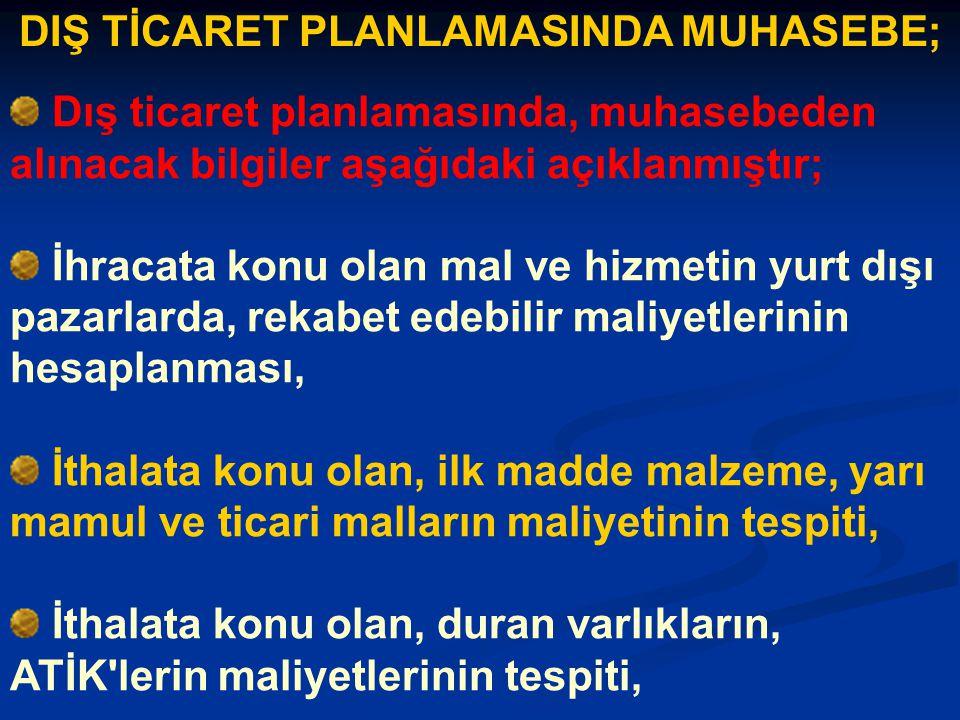 DIŞ TİCARET PLANLAMASINDA MUHASEBE;