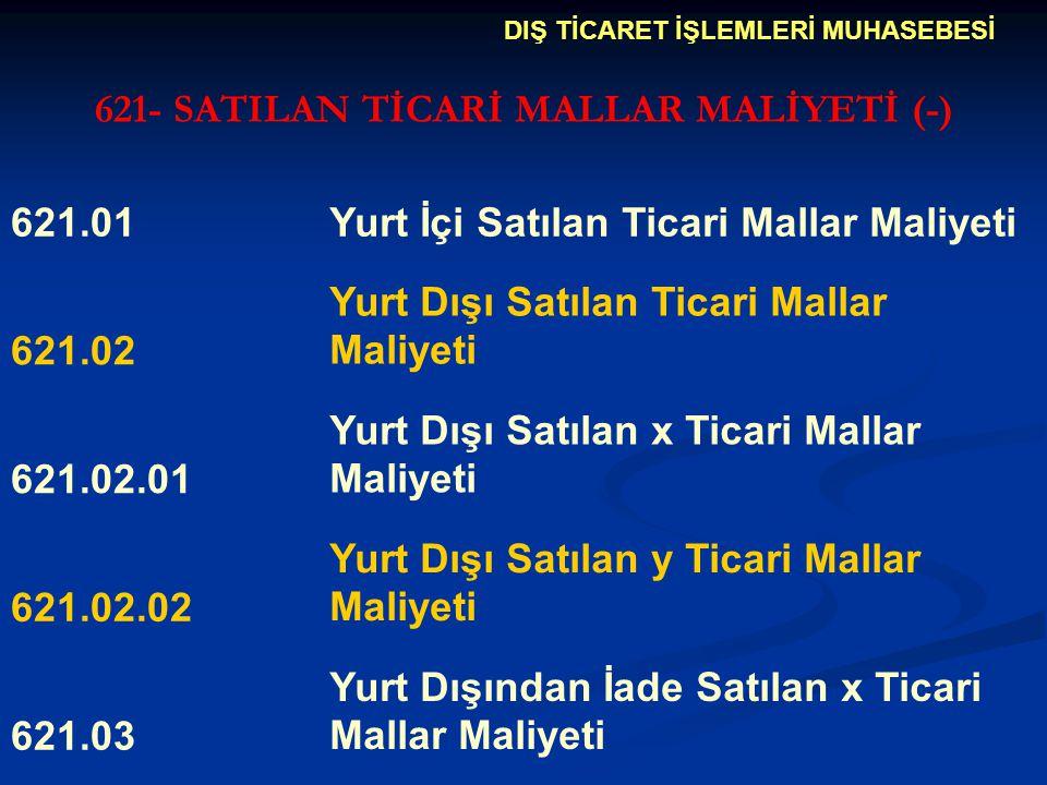 621- SATILAN TİCARİ MALLAR MALİYETİ (-)