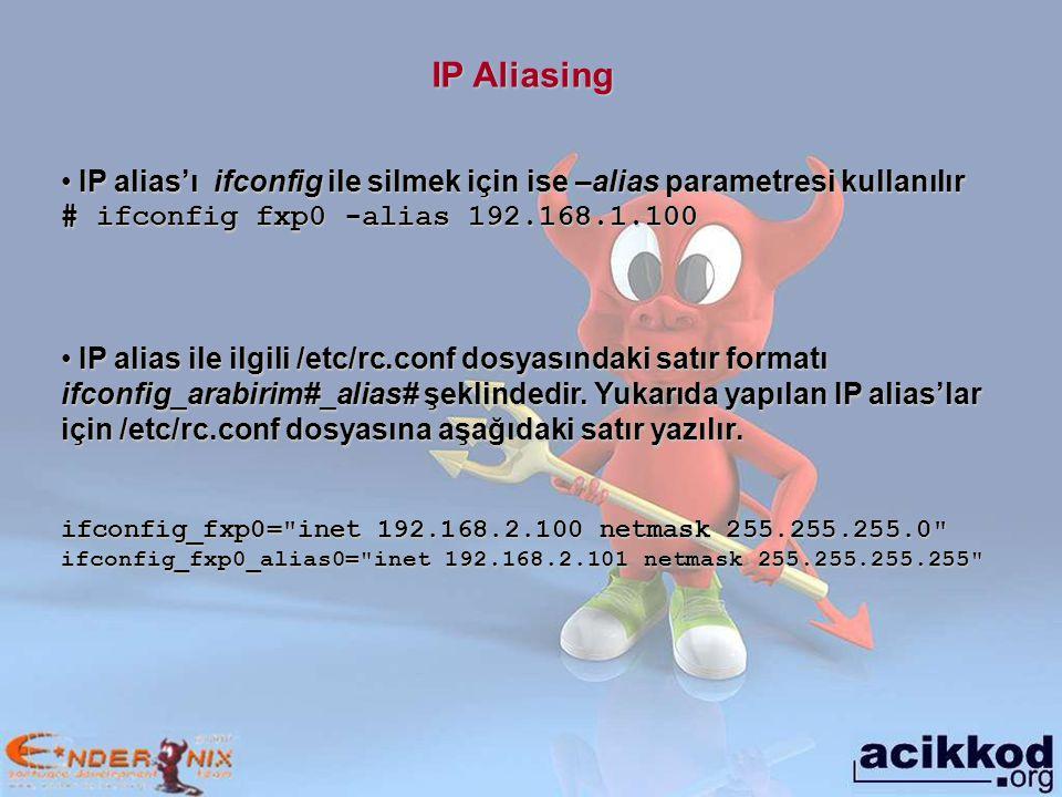IP Aliasing IP alias'ı ifconfig ile silmek için ise –alias parametresi kullanılır. # ifconfig fxp0 -alias 192.168.1.100.