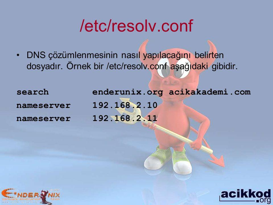 /etc/resolv.conf DNS çözümlenmesinin nasıl yapılacağını belirten dosyadır. Örnek bir /etc/resolv.conf aşağıdaki gibidir.