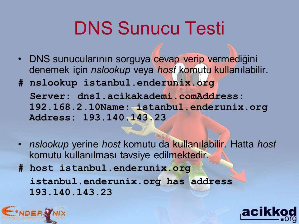 DNS Sunucu Testi DNS sunucularının sorguya cevap verip vermediğini denemek için nslookup veya host komutu kullanılabilir.
