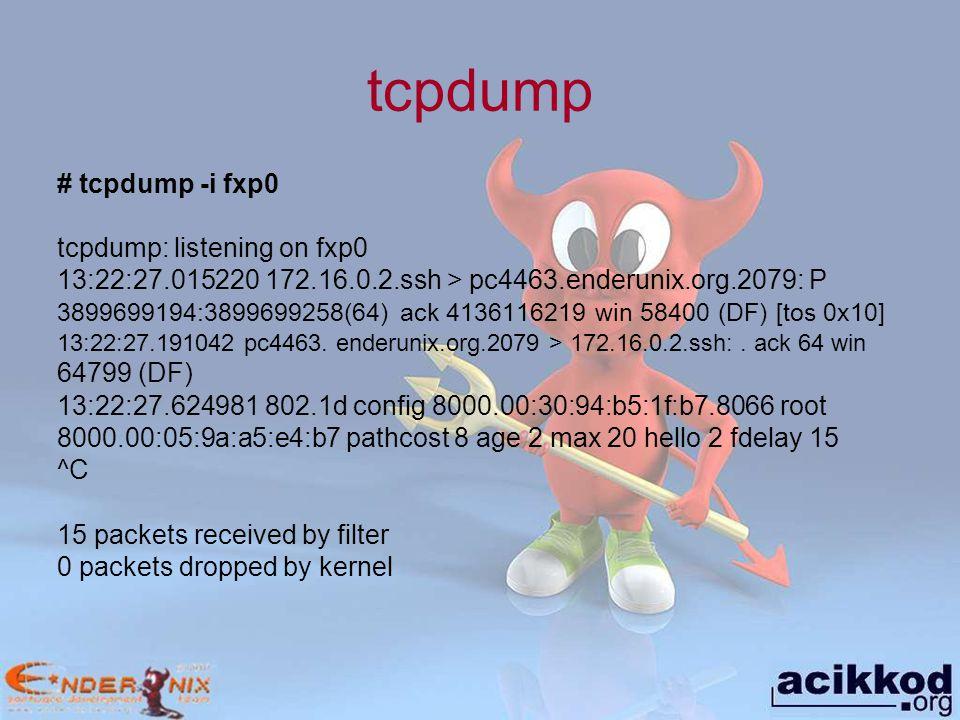 tcpdump # tcpdump -i fxp0 tcpdump: listening on fxp0