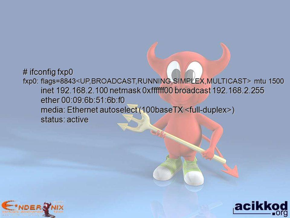 inet 192.168.2.100 netmask 0xffffff00 broadcast 192.168.2.255