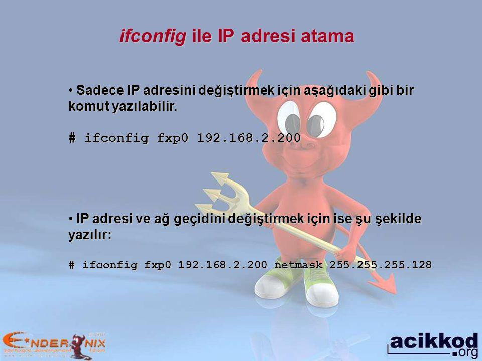 ifconfig ile IP adresi atama