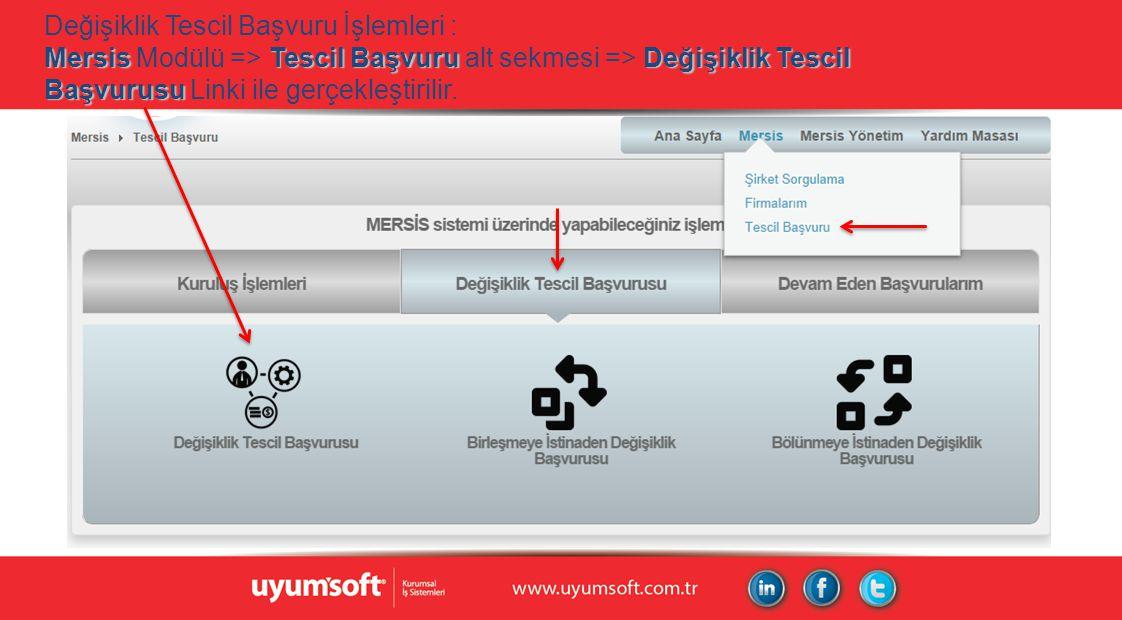 Değişiklik Tescil Başvuru İşlemleri : Mersis Modülü => Tescil Başvuru alt sekmesi => Değişiklik Tescil Başvurusu Linki ile gerçekleştirilir.