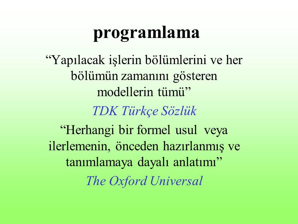 programlama Yapılacak işlerin bölümlerini ve her bölümün zamanını gösteren modellerin tümü TDK Türkçe Sözlük.