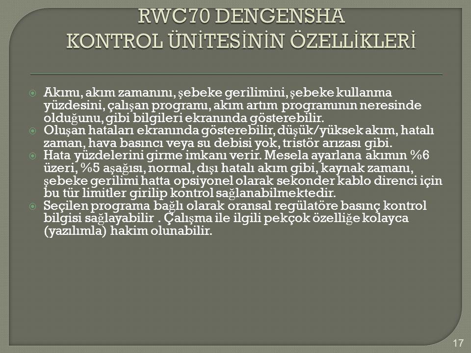 RWC70 DENGENSHA KONTROL ÜNİTESİNİN ÖZELLİKLERİ