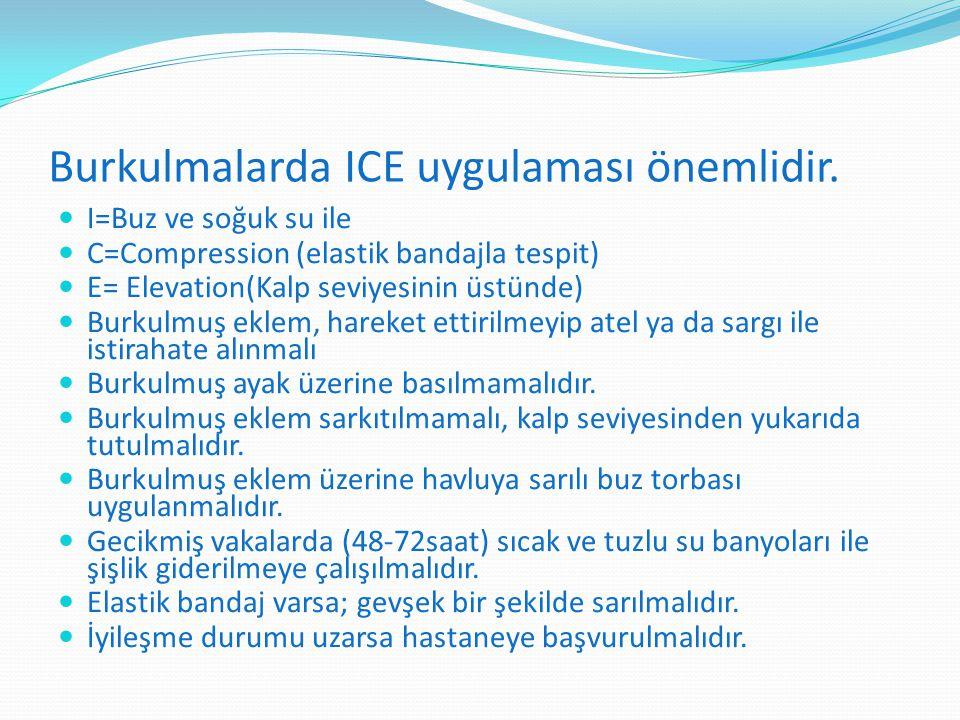 Burkulmalarda ICE uygulaması önemlidir.