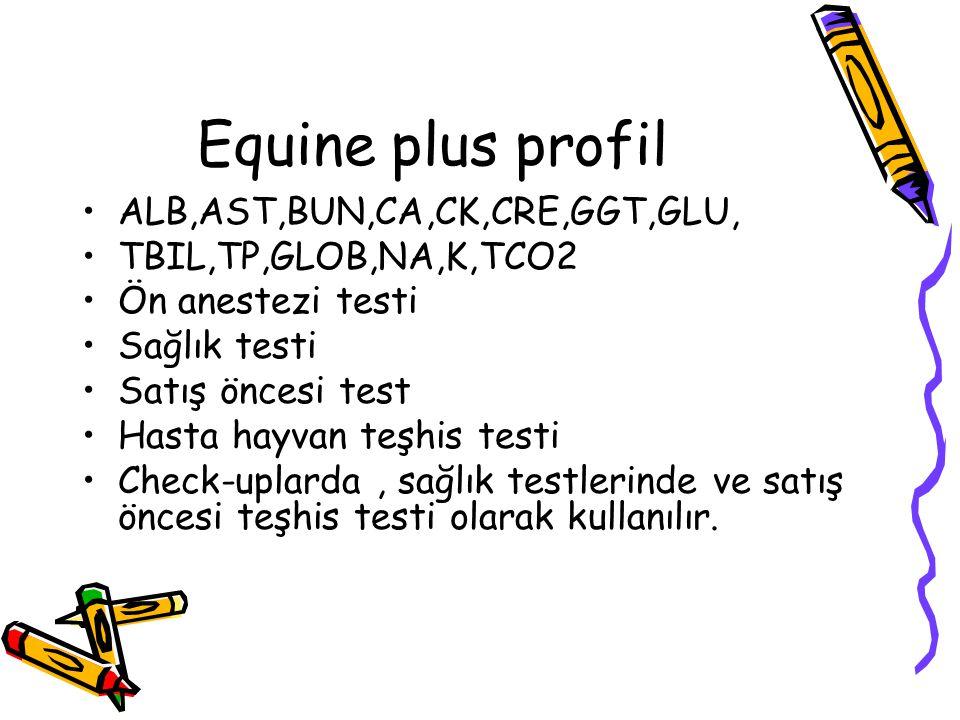 Equine plus profil ALB,AST,BUN,CA,CK,CRE,GGT,GLU,
