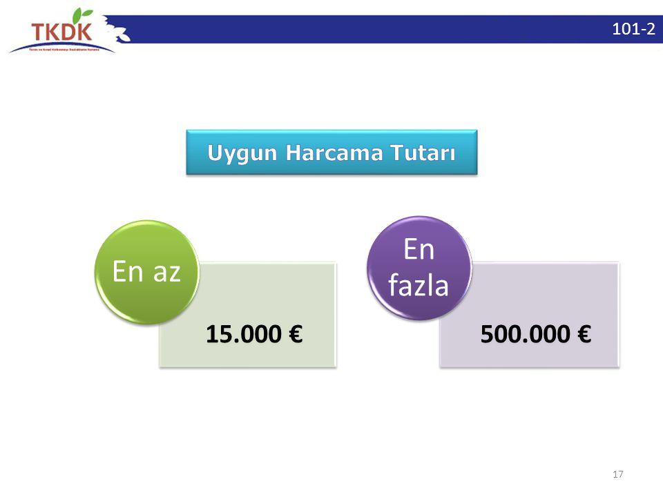 101-2 Uygun Harcama Tutarı En az 15.000 € En fazla 500.000 €