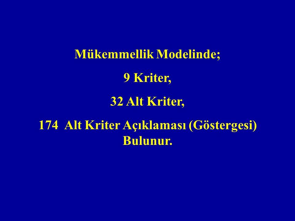 Mükemmellik Modelinde; 174 Alt Kriter Açıklaması (Göstergesi) Bulunur.