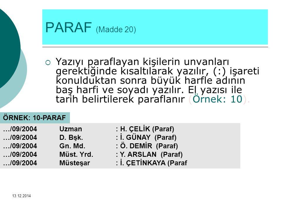 PARAF (Madde 20)