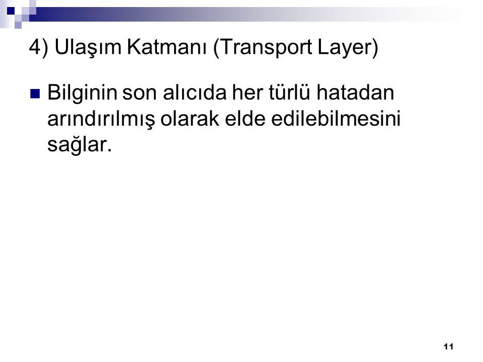 4) Ulaşım Katmanı (Transport Layer)