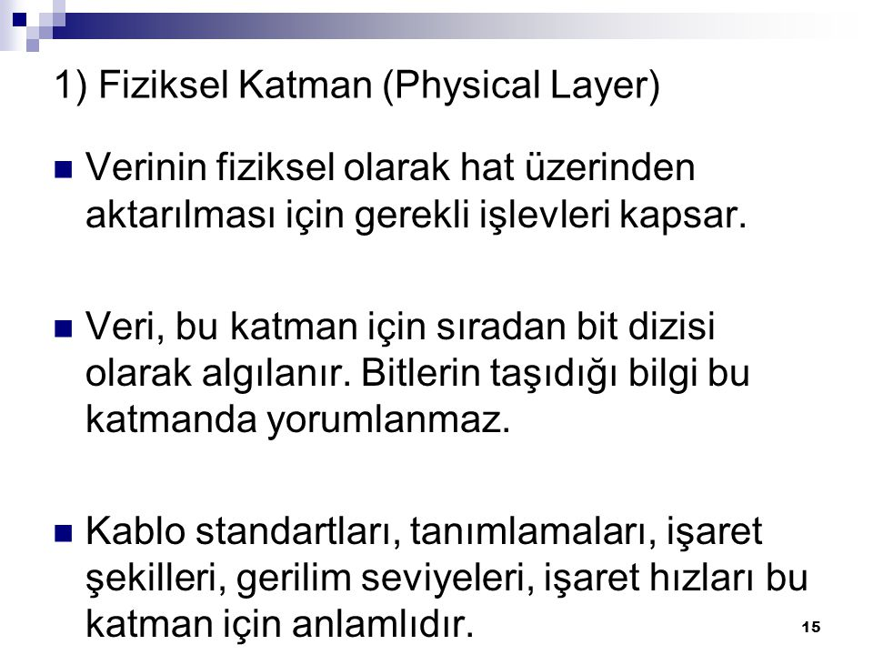 1) Fiziksel Katman (Physical Layer)