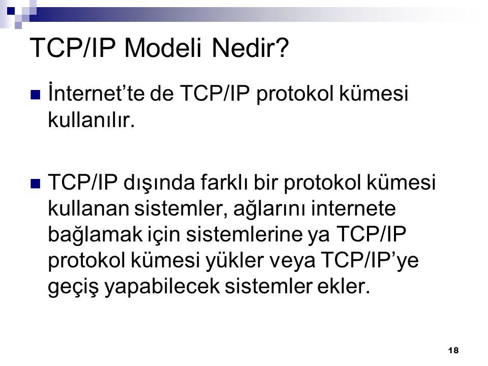 TCP/IP Modeli Nedir İnternet'te de TCP/IP protokol kümesi kullanılır.