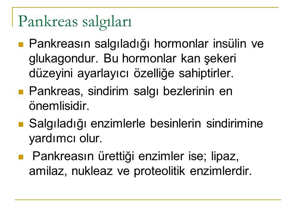 Pankreas salgıları Pankreasın salgıladığı hormonlar insülin ve glukagondur. Bu hormonlar kan şekeri düzeyini ayarlayıcı özelliğe sahiptirler.