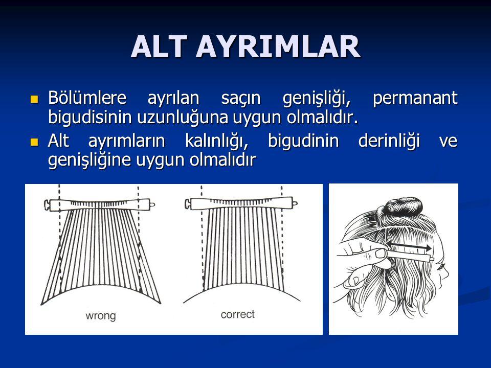 ALT AYRIMLAR Bölümlere ayrılan saçın genişliği, permanant bigudisinin uzunluğuna uygun olmalıdır.