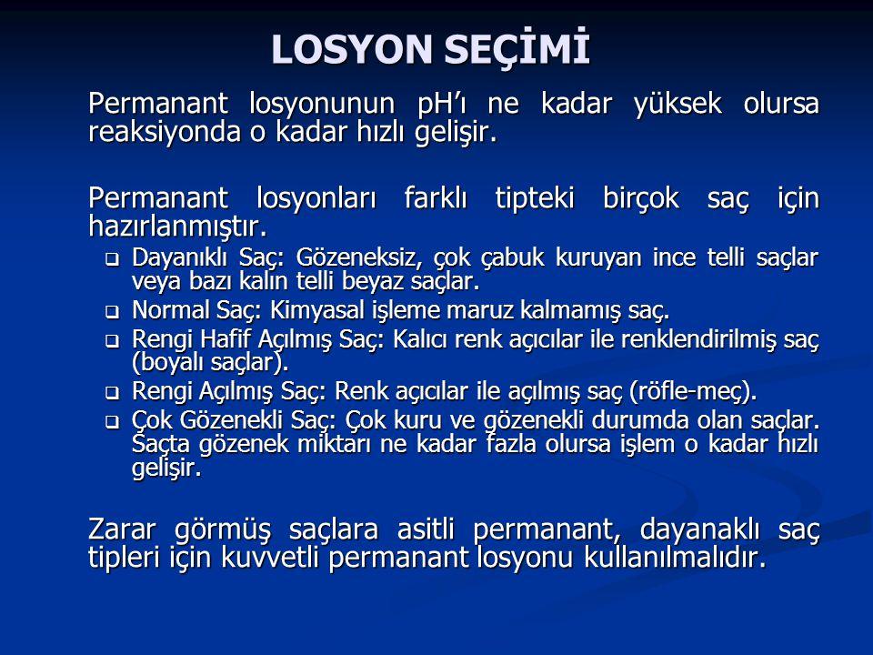 LOSYON SEÇİMİ Permanant losyonunun pH'ı ne kadar yüksek olursa reaksiyonda o kadar hızlı gelişir.