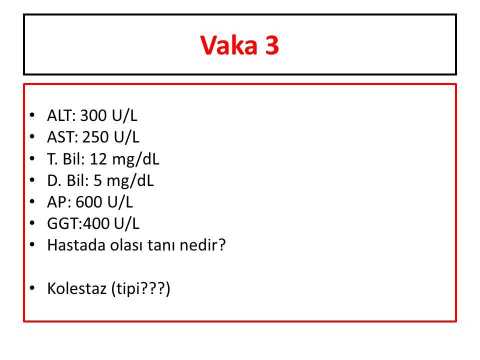 Vaka 3 ALT: 300 U/L AST: 250 U/L T. Bil: 12 mg/dL D. Bil: 5 mg/dL